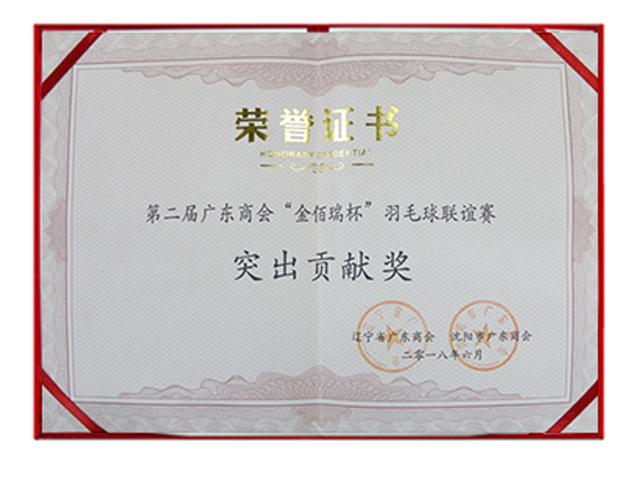 广东商会羽毛球赛突出贡献奖